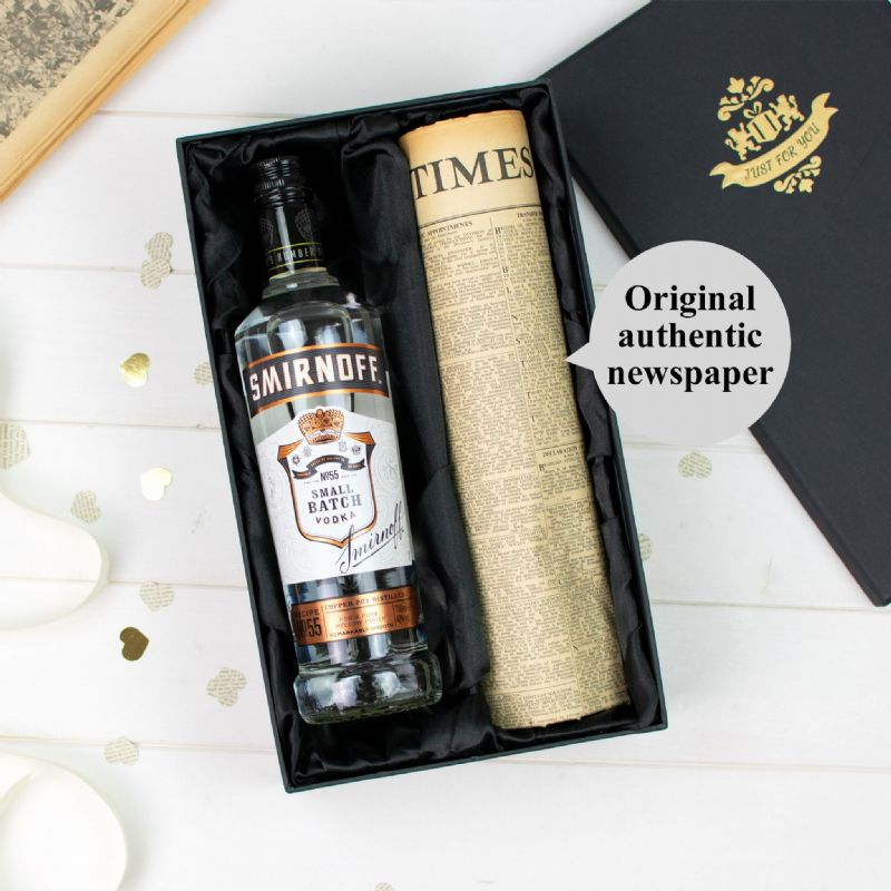 Black Smirnoff Vodka and Newspaper Gift Set | Perfect Gift for a loved one